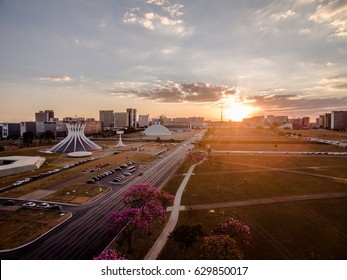 Sunset in the center of Brasilia showing Catedral building