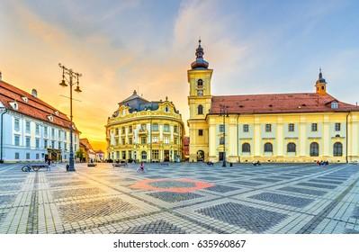 Sunset in center of Sibiu, Transylvania region, Romania.
