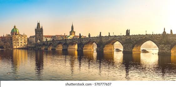 Sunset at Charles Bridge Panorama - Prague