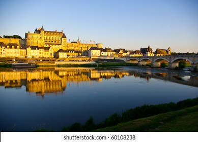 Sunset at Chateau de Amboise in Loire valley, France
