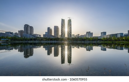 sunset in chengdu, china
