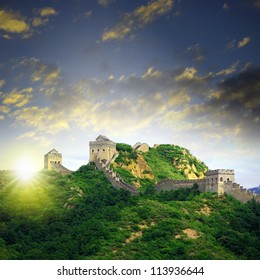 Sunset China Great Wall Sunshine