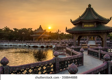 sunset with Chinese building scenes