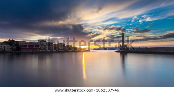 Sunset at chnaia hurbour, crete