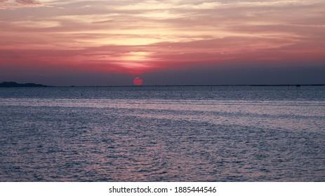 Sunset at Chonlamark Withi bridge  landmark of Chonburi Thailand January 1, 2021
