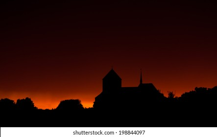 Sunset with church. church on a background of the sunset