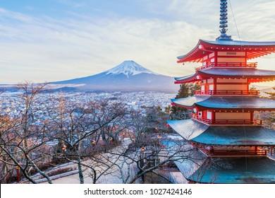 Sunset at Chureito Pagoda and Mt. Fuji in winter Fujiyoshida, Japan