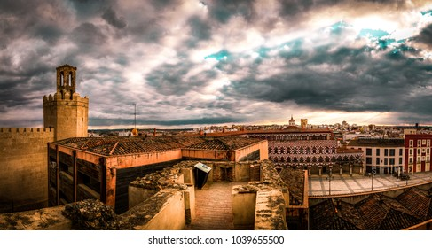 sunset from the citadel of Badajoz with a view to tower espantaperros and plaza alta