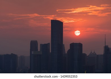 Sunset in the city in China