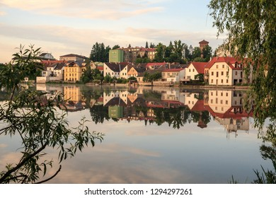 """Sunset at the city of """"Jindrichuv Hradec"""" which means Henry's Castle in the region South Bohemian, at the """"Hammersky Potoc"""" )Hammer brook) lake. CZ"""