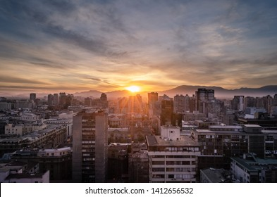 Sunset in the city of Santiago