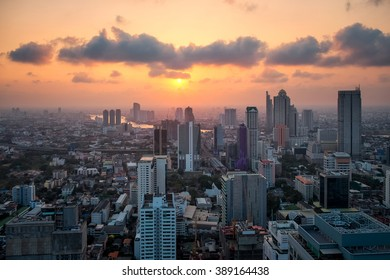 Sunset citys in center of Bangkok, Thailand