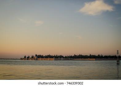 sunset cityscape of san michele island