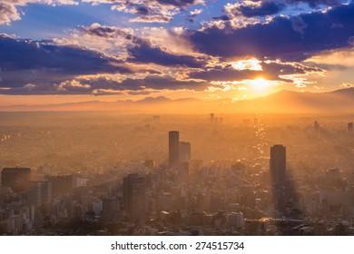 Sunset cityscape silhouette