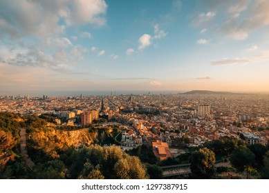 Sunset cityscape skyline view from Bunkers Del Carmel, in Barcelona, Spain