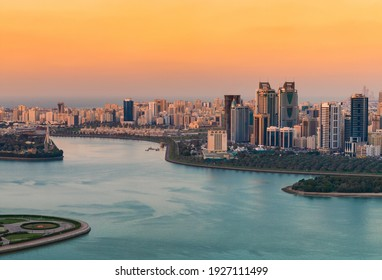 Sunset of a cityscape in urban city with red and blue contrast