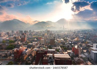 Sunset Cityscape view of Beppu city and Beppu bay from Beppu tower, Oita, Kyushu, Japan