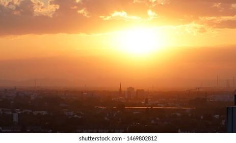 Sunset cityscape view Karlsruhe City (Germany)