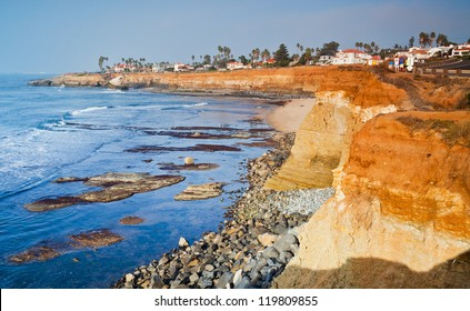 Sunset Cliffs Beach Coastline in Sunny San Diego, California