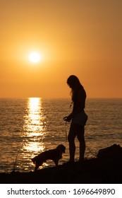 Sunset cliffs dog walk sunset