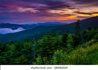 Sunset from Clingman's Dome, Great Smoky Mountains National Park, Tennessee.