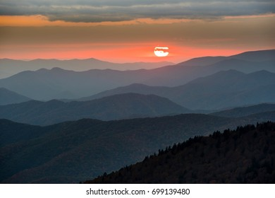 Sunset at Clingmans Dome in Great Smoky Mountains  National Park