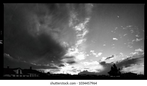 Sunset clouds at black and white