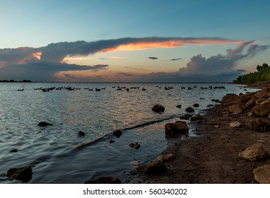 Sunset with clouds. Lake Hefner, Oklahoma