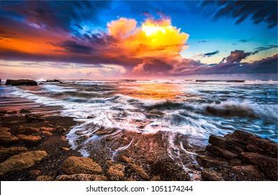 Sunset clouds ocean beach waves landscape