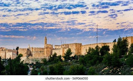 Sunset clouds over the Tower of David, Old City Jerusalem