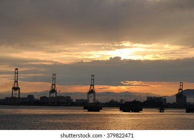sunset clouds at a port in Malaysia