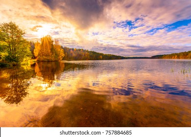 Sunset in the cloudy sky over the forest lake. View from the shore level, image in the orange-purple toning