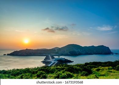 Sunset of coast at Dongyin Township, Matsu, Taiwan