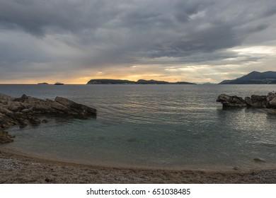 Sunset at the coast of Dubrovnik, Croatia, Europe