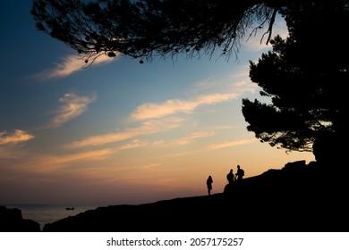 Sunset at coast near Pula in Croatia