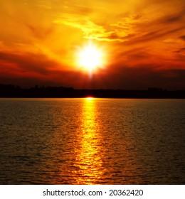 sunset at coast of the sea
