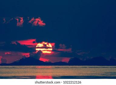 sunset at coast of the sea, Koh Samui, Thailand.