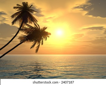 Sunset coconut palm trees on a beach - 3d illustration. More in my portfolio.