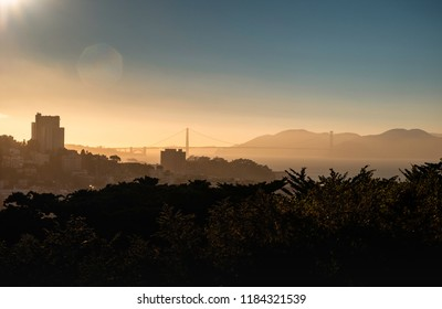 Sunset from Coit Tower and views of the Golden Gate, San Francisco