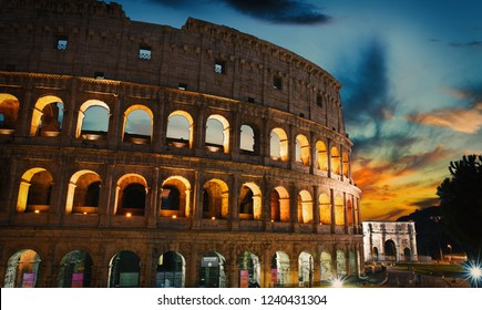 Sunset and Coliseum old building in Rome city, Italy