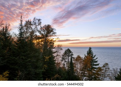 Sunset Colors of Autumnal Lake Superior from the South Shore in Wisconsin
