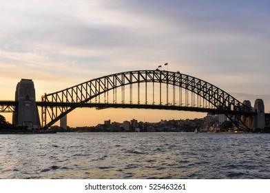 Sunset colors at the Harbour Bridge in Sydney, Australia
