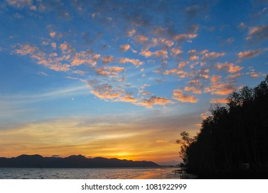 The sunset colours of Black Beach near Koh Chang, Trat in eastern Thailand