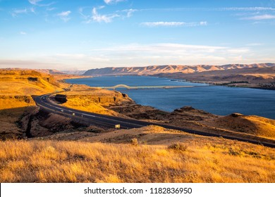 Sunset at Columbia River and Vantage Bridge I-90, Washington-USA