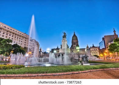 Sunset at Congress square monument in Buenos Aires, Argentina