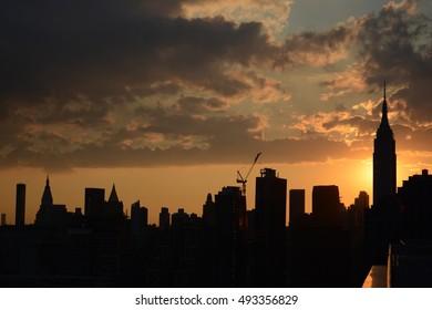 Sunset Construction in Midtown Manhattan