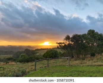 Sunset in Country setting with trees and fences
