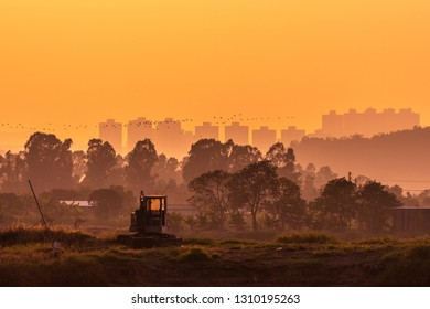 Sunset at countryside landscape