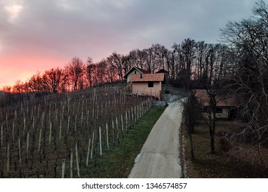 Sunset in the countryside, Slovenia