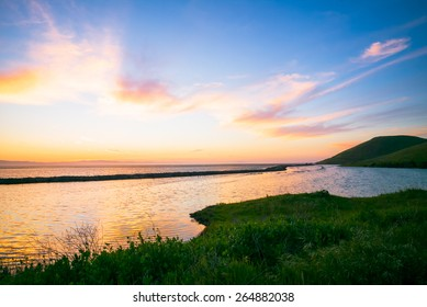 Sunset Coyote Hills Regional State Park.  San Francisco bay area.  Salt ponds.